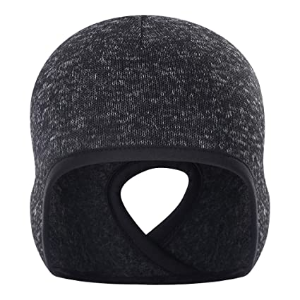 869604155 Oumers Winter Ponytail Sport Hat, Velvet Fabric Horsetail Running Beanie  Skull Cap Headwear with Ear Covers, Helmet Liner for Adults Women and Men  ...