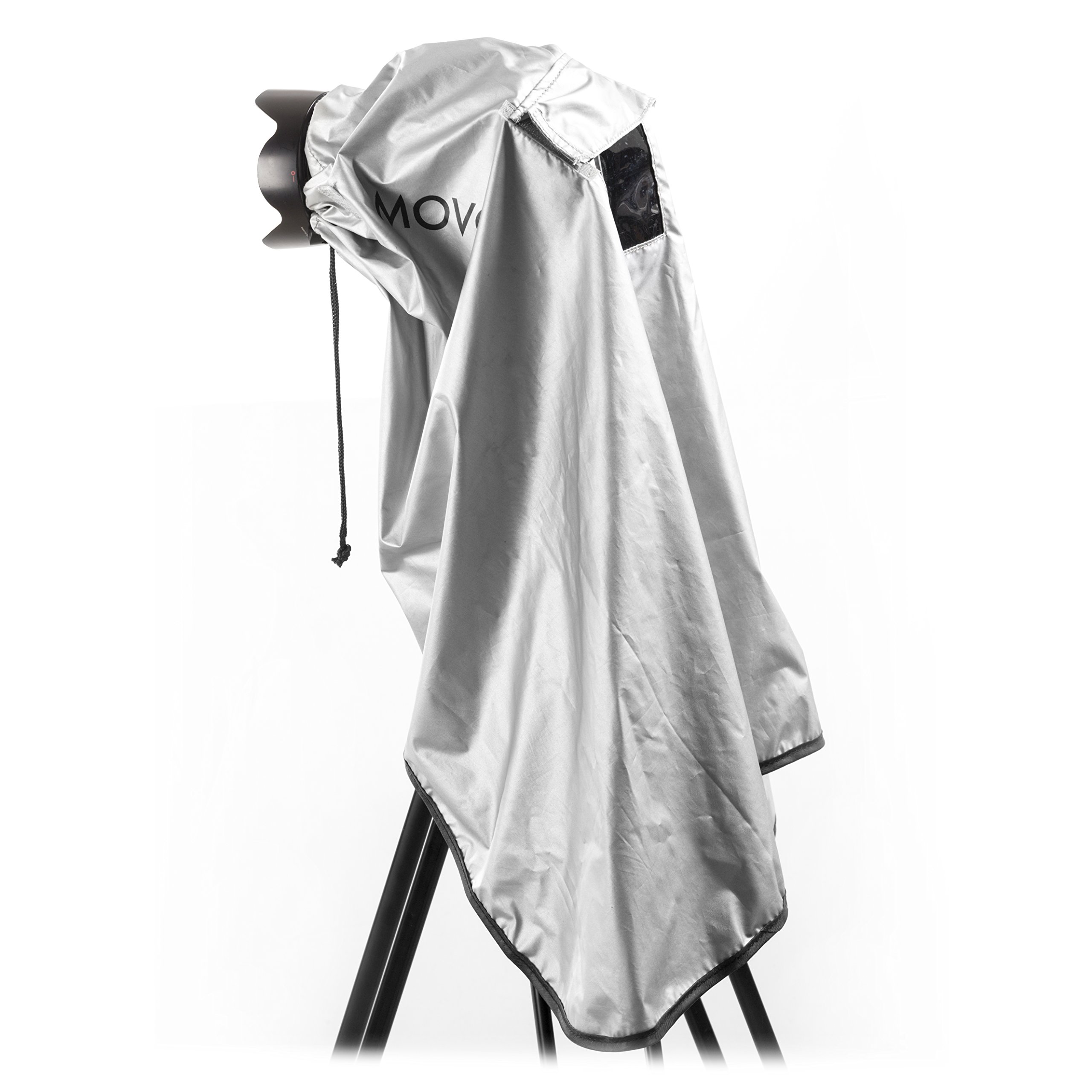Movo CRC03 Extra-Long Waterproof Rain Coat for DSLR Camera, Lens and Tripod (Metallic Gray) by Movo