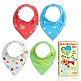 Amazon Price History for:BIG SALE - Baby Bandana Drool Bibs By Holaola, Unisex 4-Pack Absorbent Organic Cotton, Cute Baby Gift Set for Newborn