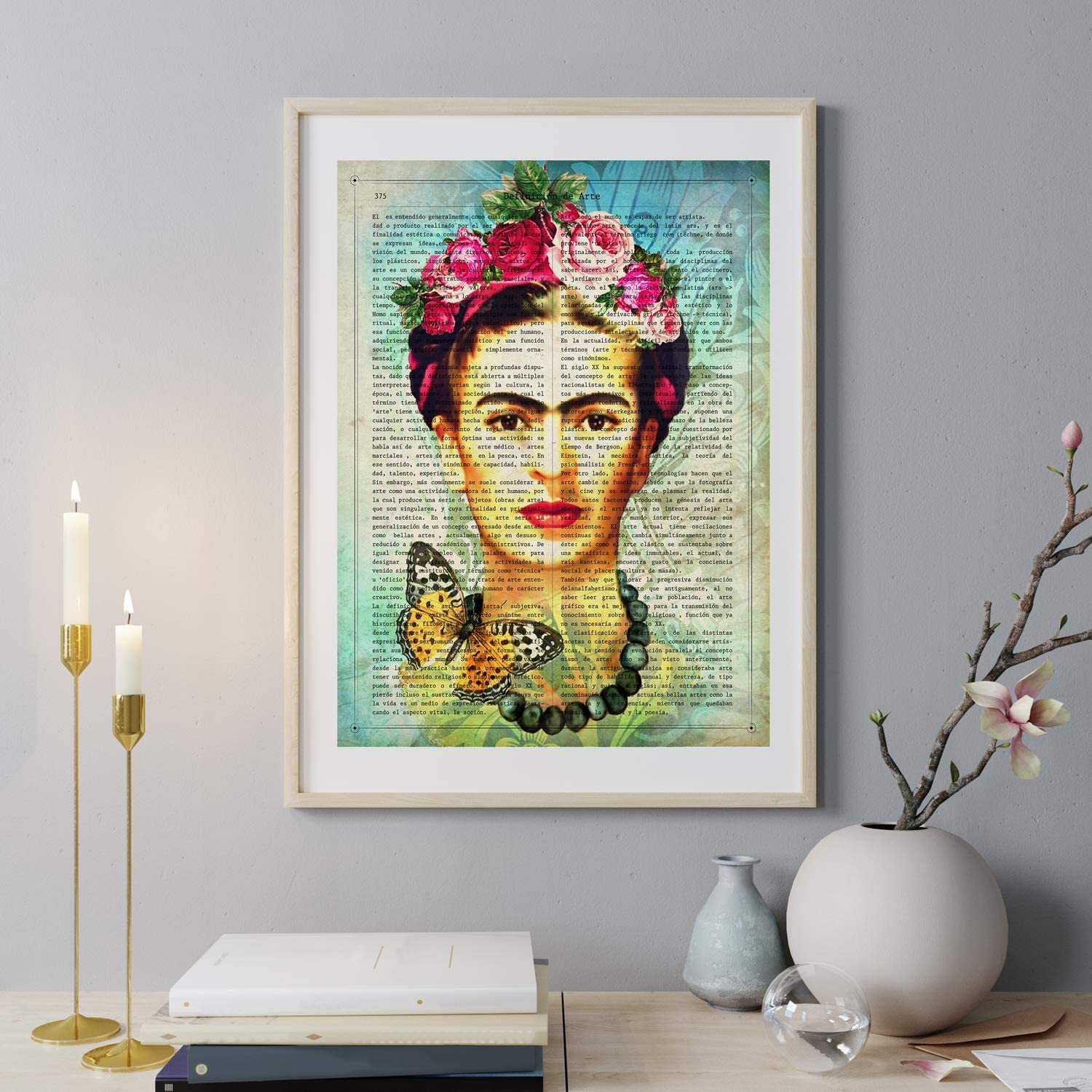 Nacnic Prints Frida Kahlo Definition of Art in Spanish,The Mexican Painter - Tropical wall art, Mexican decorations for home , Mexican wall decor , Aztec art , Chicano art, Mexican Painter . Set of 1 - Unframed 11x17 inch Size - 250g Paper - Beautiful Poster Painting for Home Office Living Room