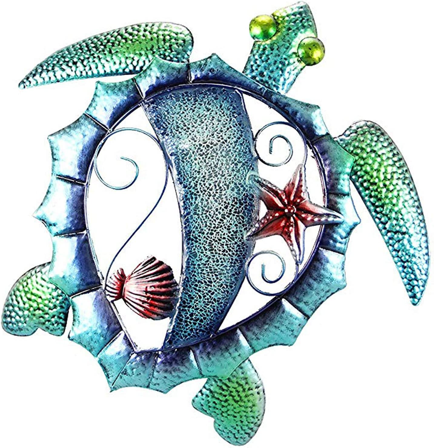 Ocean Sea Turtle Wall Decor Metal Mosaic Coastal Design 15.25 inches x 14.75 inches