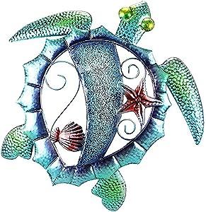Ocean Sea Turtle Wall Decor Metal Mosaic Coastal Design 15.25 inches x 14.75 inches