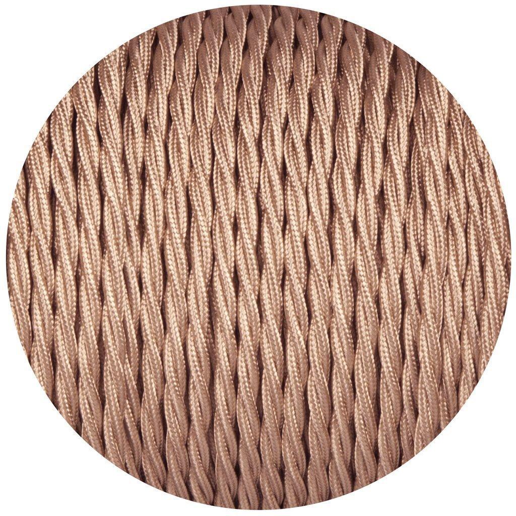 3/Core torsad/ées Or rose c/âble vintage antique tress/é torsad/é Tissu d/éclairage c/âble tiss/é Soie Fil souple Cordon lumi/ère