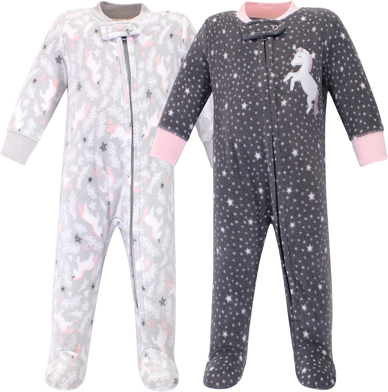Hudson baby Baby-Girls Fleece Sleep and Play Footie