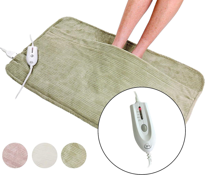 Serta | Ultra Soft Plush Electric Heated Warming Pad for Feet,(Sage)