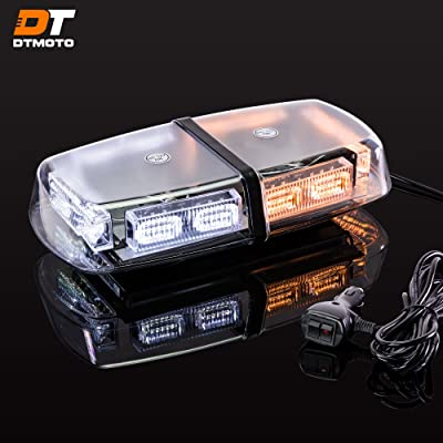 "12"" 36W Amber White LED Emergency Warning Mini Light Bar - Waterproof Magnetic Roof Top Mount Strobe Flashing Lights for Trucks Golf Cart Tractors Vehicles Cars Forklift: Automotive"