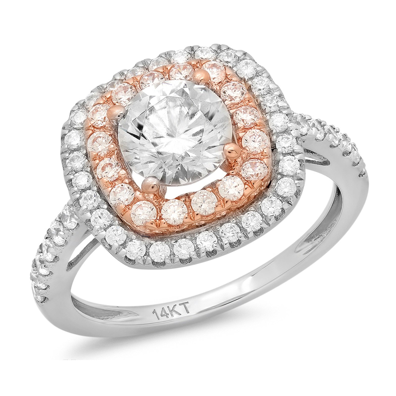 Clara Pucci 1.6 CT Round Cut Pave Double halo Anniversary Promise Engagement Ring Bridal band 14k White Rose Gold
