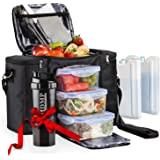 Meal Prep Lunch Bag / Box For Men, Women + 3 Large Food Containers (45 Oz.) + 2 Big Reusable Ice Packs + Shoulder Strap + Sha