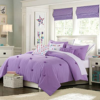 Cassiel Home Merry Christmas Waterfall Bed Twin XL Comforter Set for Girls Purple Ruffle Comforter Set Kids Bedding Sets Twin for Teen Soft and Cozy Violet Anna 3pcs Pompoms (Twin XL): Home & Kitchen