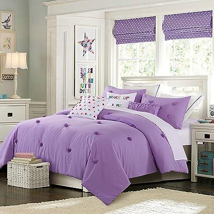 Cassiel Home Anna 3pcs Comforter set Purple Teen Girls Bedding (Queen,  Purple)