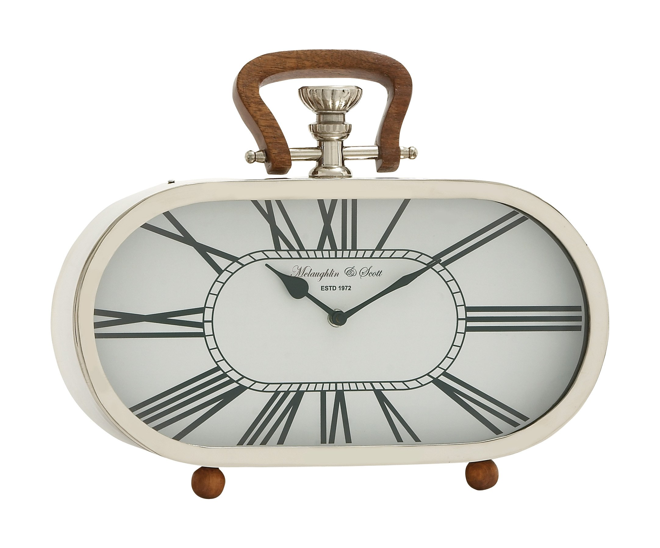 Deco 79 Fantastic Steel Wood Table Clock