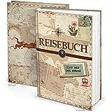 XXL Reisetagebuch Reisebuch Notizbuch DIN A4 vintage Nostalgie 153 Seiten + Inhaltsverzeichnis z. Selber-schreiben Urlaubs-Tagebuch Geschenk-Idee Reisen Weihnachten + Geburtstag