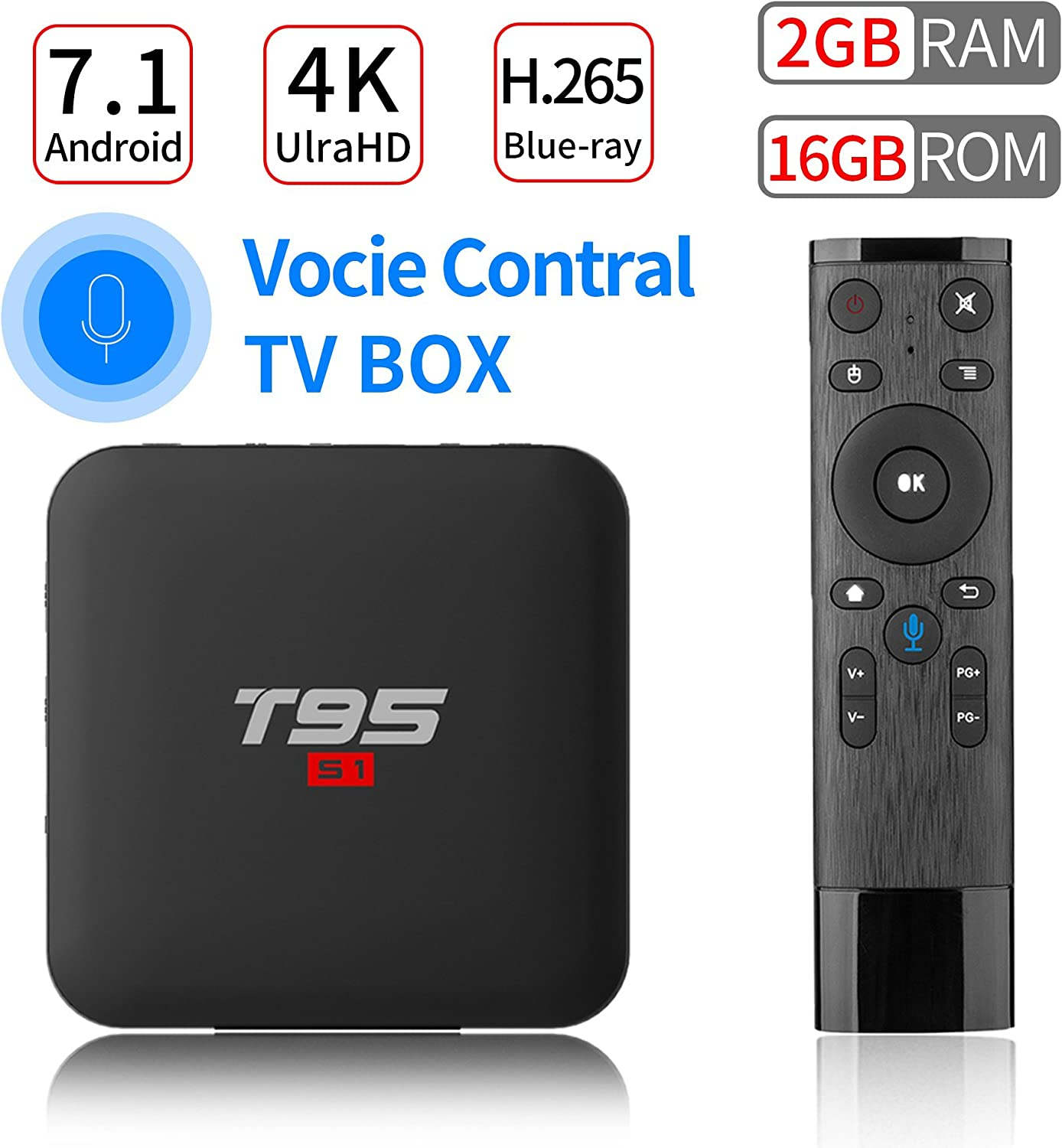 PULIER T95 S1 Control de Voz Android 7.1 TV Box 2GB RAM 16GB ROM S905W Quad Core Support 1080P 4K Ultra-HD H.265 BLU-Ray HDMI Smart TV Media Player 2018: Amazon.es: Electrónica