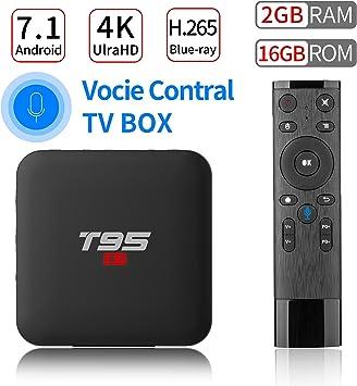 PULIER T95 S1 Control de Voz Android 7.1 TV Box 2GB RAM 16GB ROM S905W Quad Core Support 1080P 4K Ultra-HD H.265 BLU-Ray HDMI Smart TV Media Player 2018: Amazon.es: Electrónica