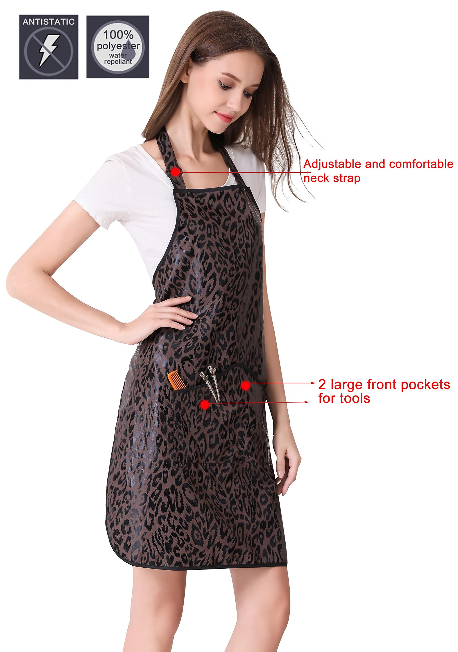 Hair Stylist Apron for Salon Hairdresser, Barber Haircut Styling Apron With Pockets-Leopard Print by Perfehair (Image #3)