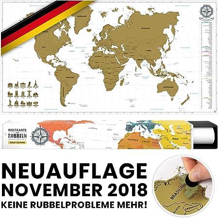 benehacks Mapa del Mundo en ALEMAN Tipo póster para rascar SIGA Sus Aventuras de Viaje en un Mapa detallado del Mundo - Mapamundi Oro/Blanco - 84 x 44 cm: Amazon.es: Hogar