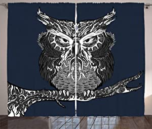 Ambesonne Indie Curtains, Owl with Vintage Style Ornaments Wisdom Creature of Night, Living Room Bedroom Window Drapes 2 Panel Set, 108