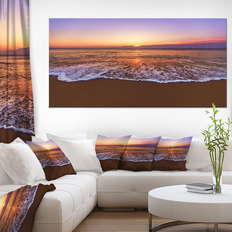 Designart Pt10664 60 28 Orange Tinged Sea Waters At Sunset Beach Canvas Wall Art 60x28 1 Piece 28 X 60 X 2 Blue Amazon In Home Kitchen