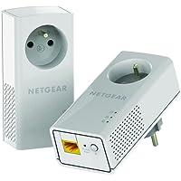 NETGEAR PLP1200-100FRS Pack de 2 CPL Gigabit (1200Mbps) avec Prise filtrée - Compatible avec les anciens modèles et toutes les box internet