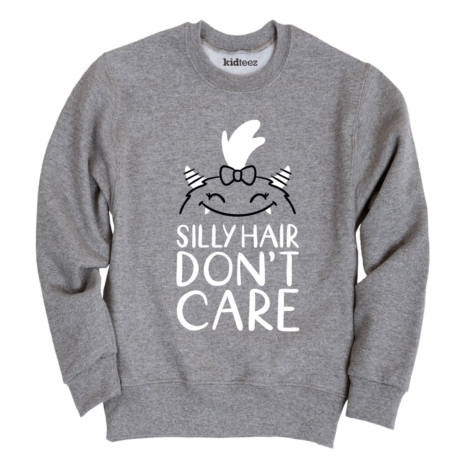 Instant Message Silly Hair Dont Care-Toddler Crew Fleece Sweatshirt Air Waves