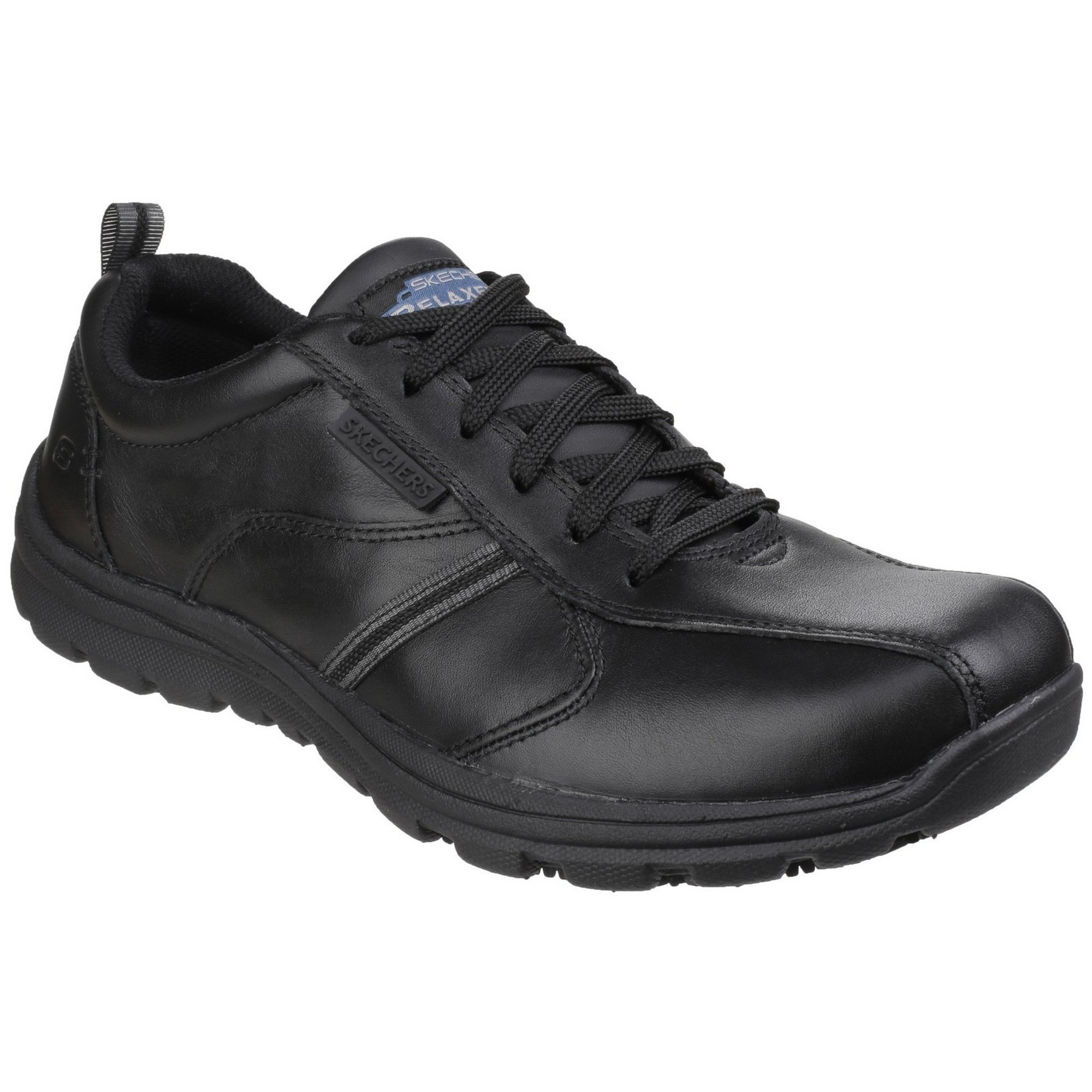 Skechers Occupational Mens Hobber Frat Slip Resistant Lace up Work Shoes (9 US) (Black)