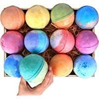 Bath Bombs Gift Set 12 Super Large 5oz Each Best Gift Ideas for Women Teen Girls and Kids Handmade with Natural Vegan Shea & Cocoa Butter Spa with Fizzies and Included 12 Candles Mothers Day Gifts
