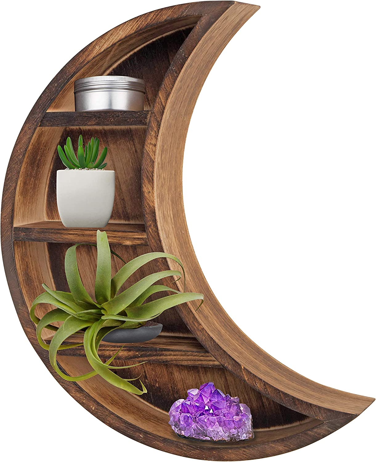 branchish Wood Moon Shelf - Aesthetic Wooden Moon Wall Decor for Bedroom, Home, Bathroom, Kitchen, Cabin | Celestial Phases Mounted Hanging Art Shelves Decorations for Unique Room Display