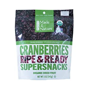 Made In Nature Organic Cranberries, Dried and Unsulfured, 5 Ounce Bag