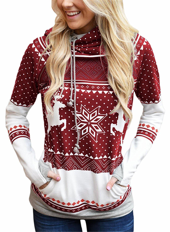 FIYOTE Womens Ugly Christmas Reindeer Snowflake Long Sleeve Hooded Sweatshirt Jumpers Casual Pullover Hoodie