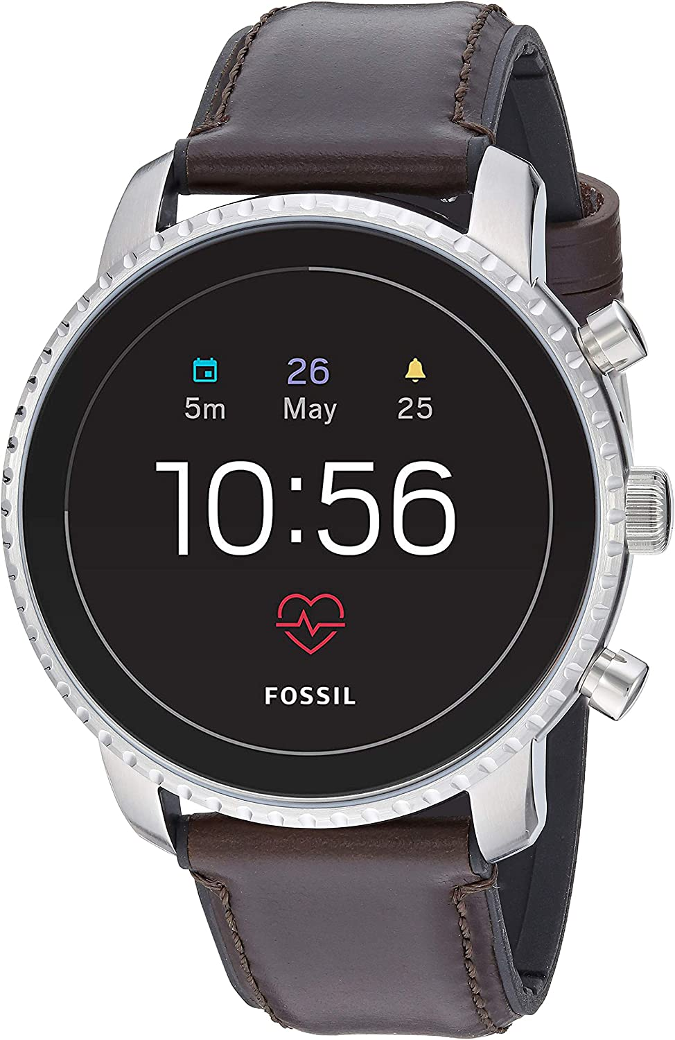 Fossil Mens Gen 4 Explorist HR Heart Rate Stainless Steel and Leather Touchscreen Smartwatch, Color: Silver, Brown (Model: FTW4015)
