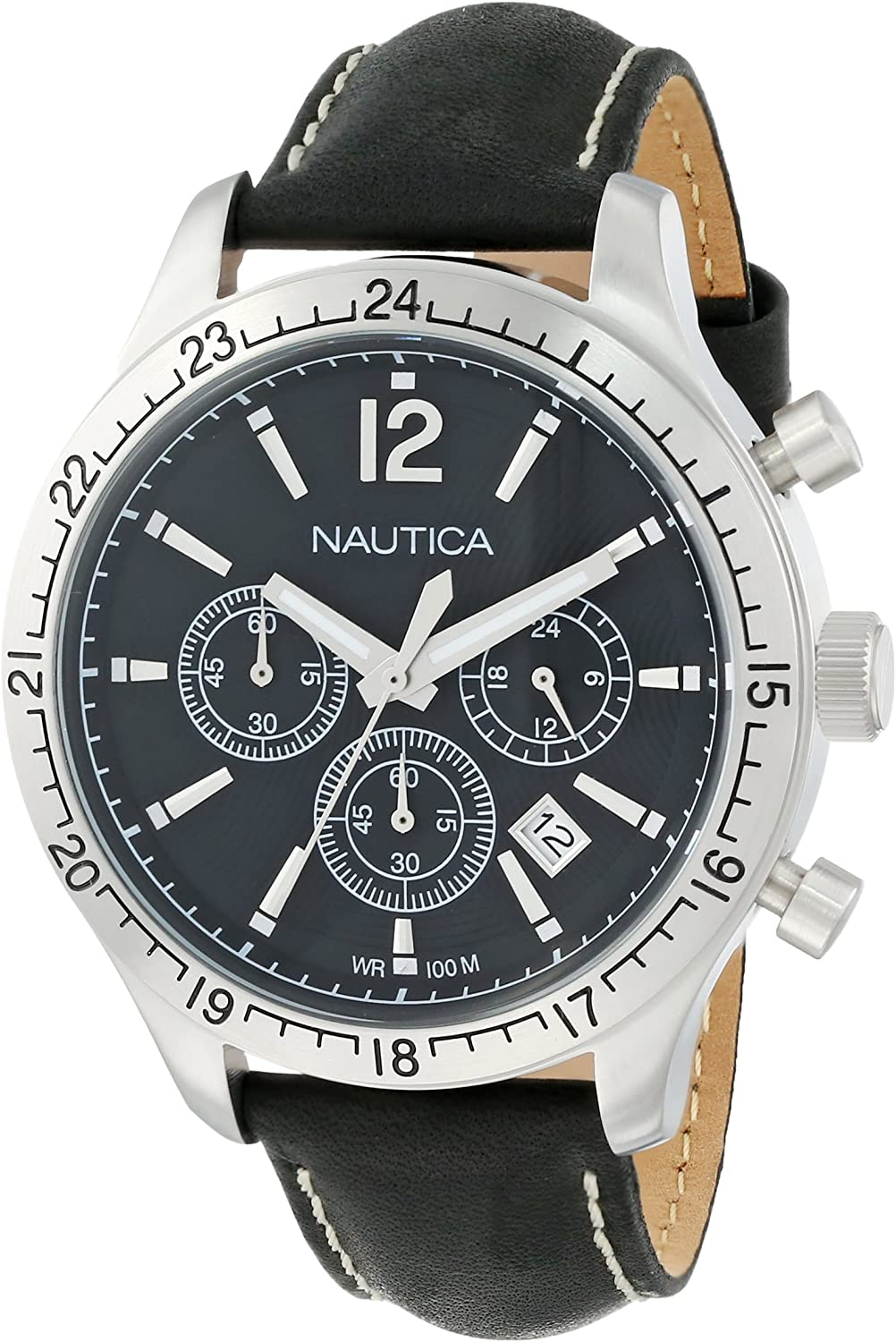 Nautica Men s N16659G BFD 104 Stainless Steel Watch with Black Leather Strap