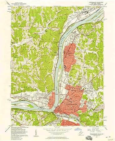 Parkersburg West Virginia Map.Amazon Com Yellowmaps Parkersburg Wv Topo Map 1 24000 Scale 7 5