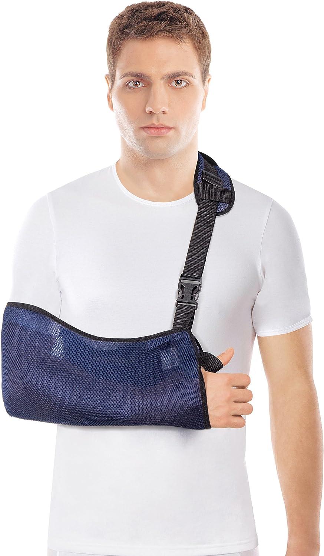 Cabestrillo para brazos - Malla transpirable - Ligero - Estabilice el brazo, el hombro y la muñeca después de lesiones o para un brazo roto - Azul Small