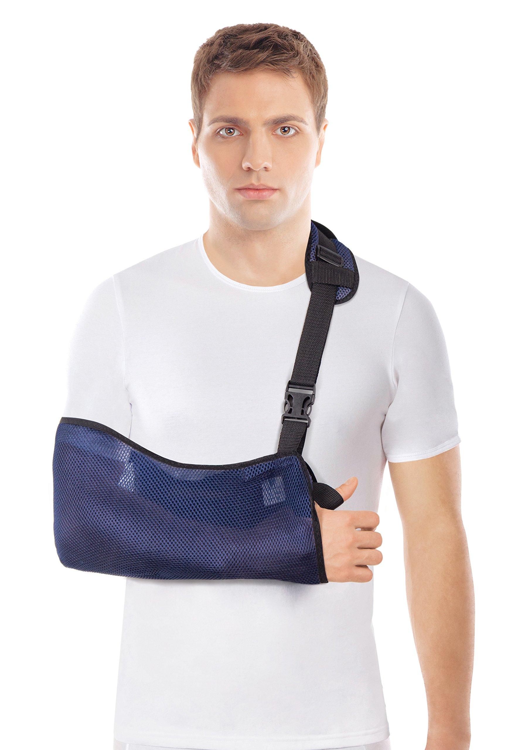 Arm Sling - Breathable Mesh – Lightweight (Medium, Blue)