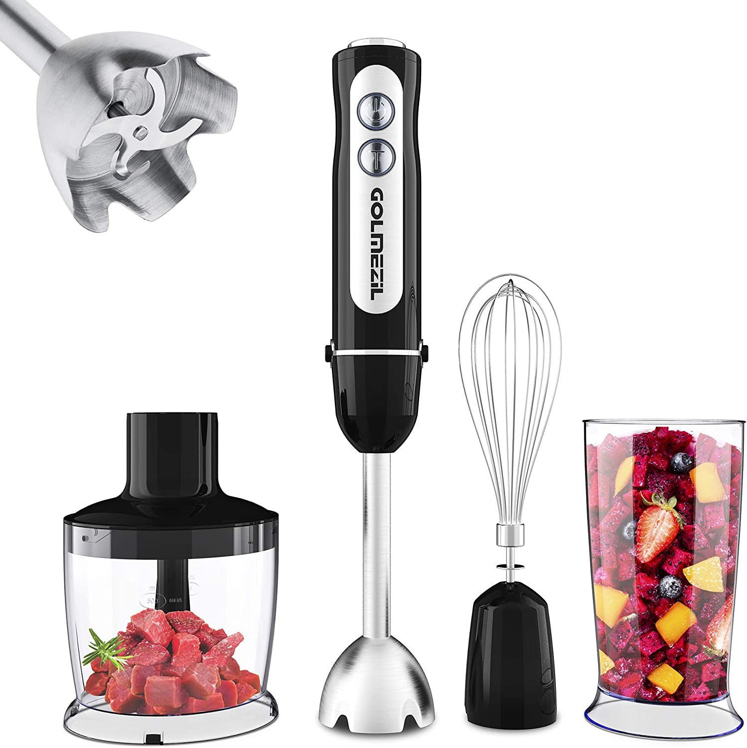 Immersion Hand Blender Max 1000W: Electric 4-in-1 Variable Speed Corded Handheld Stick Blenders with Attachments