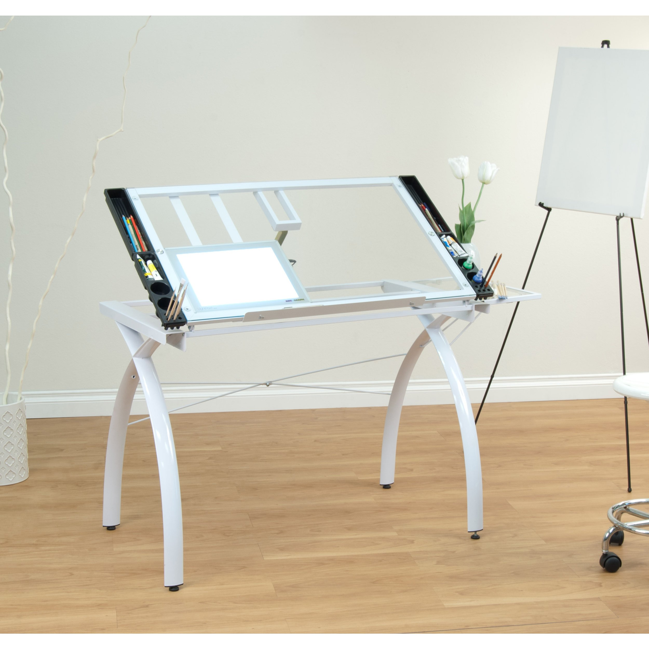 Modern Contemporary Drafting Hobby Craft Station Table with Adjustable Tempered Glass Top with Folding Shelf - Includes Modhaus Living Pen (White) by ModHaus Living (Image #1)