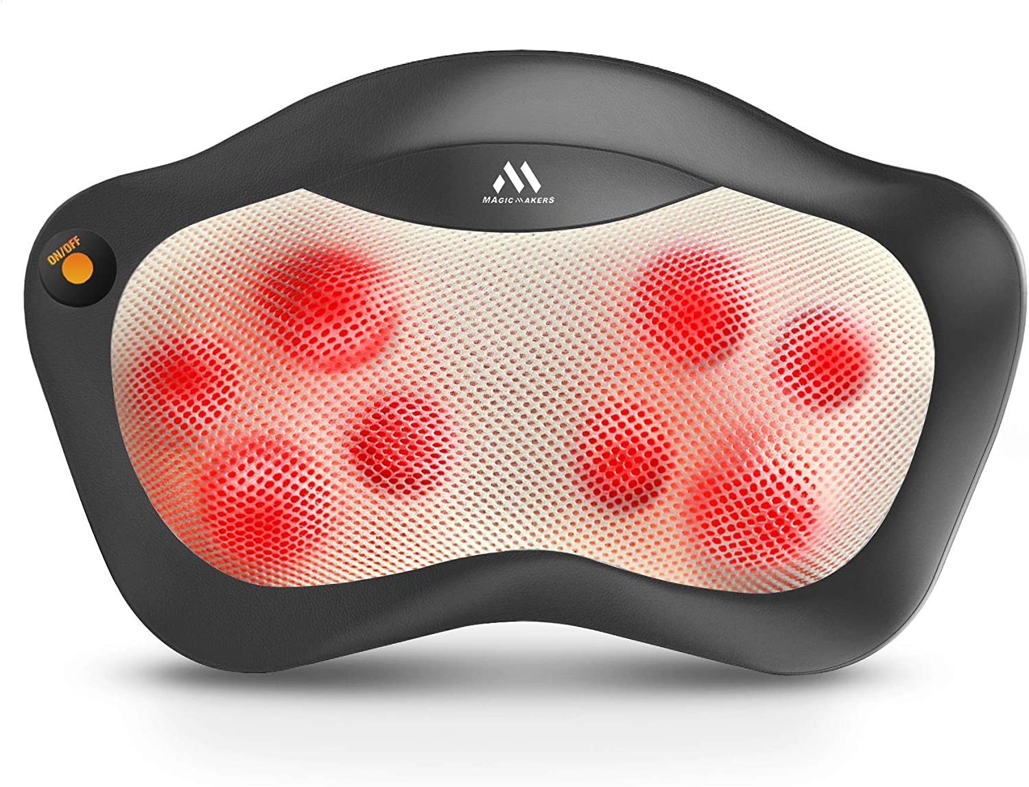 Shiatsu Neck and Back Massager – 8 Heated Rollers Kneading Massage Pillow for Shoulders, Lower Back, Calf, Legs, Foot – Relaxation Gifts for Men, Women – Shoulder and Neck Massager Present for Wife