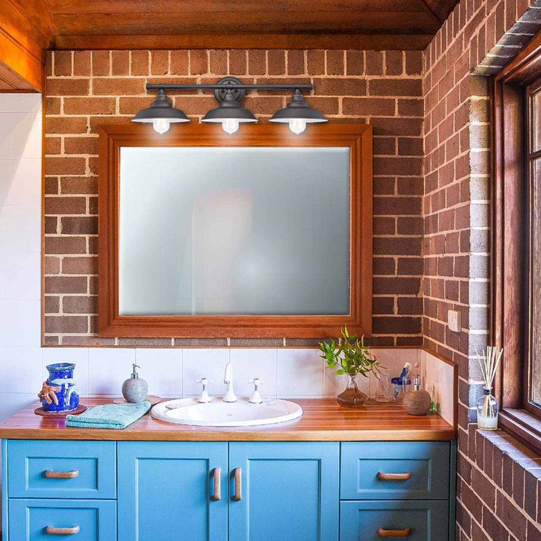 Mirror Cabinets Vintage Bathroom Mirror Light Black Bathroom Wall Lights Metal Edison Retro Lamp Shade 3 Light E27 Industrial Wall Lamp Vanity Light for Bedroom Dressing Table Vanity Table