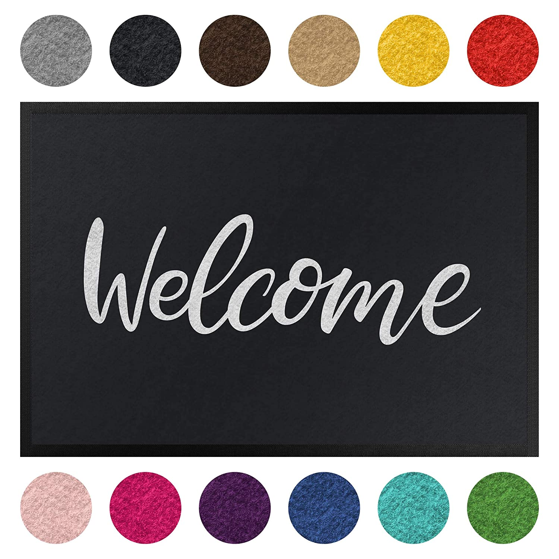 Fußmatte - Welcome Welcome Welcome Handwritten, Größe HxB  60cm x 85cm, Florfarbe  Marine B07K8GFJB4 Fumatten 77b0bc