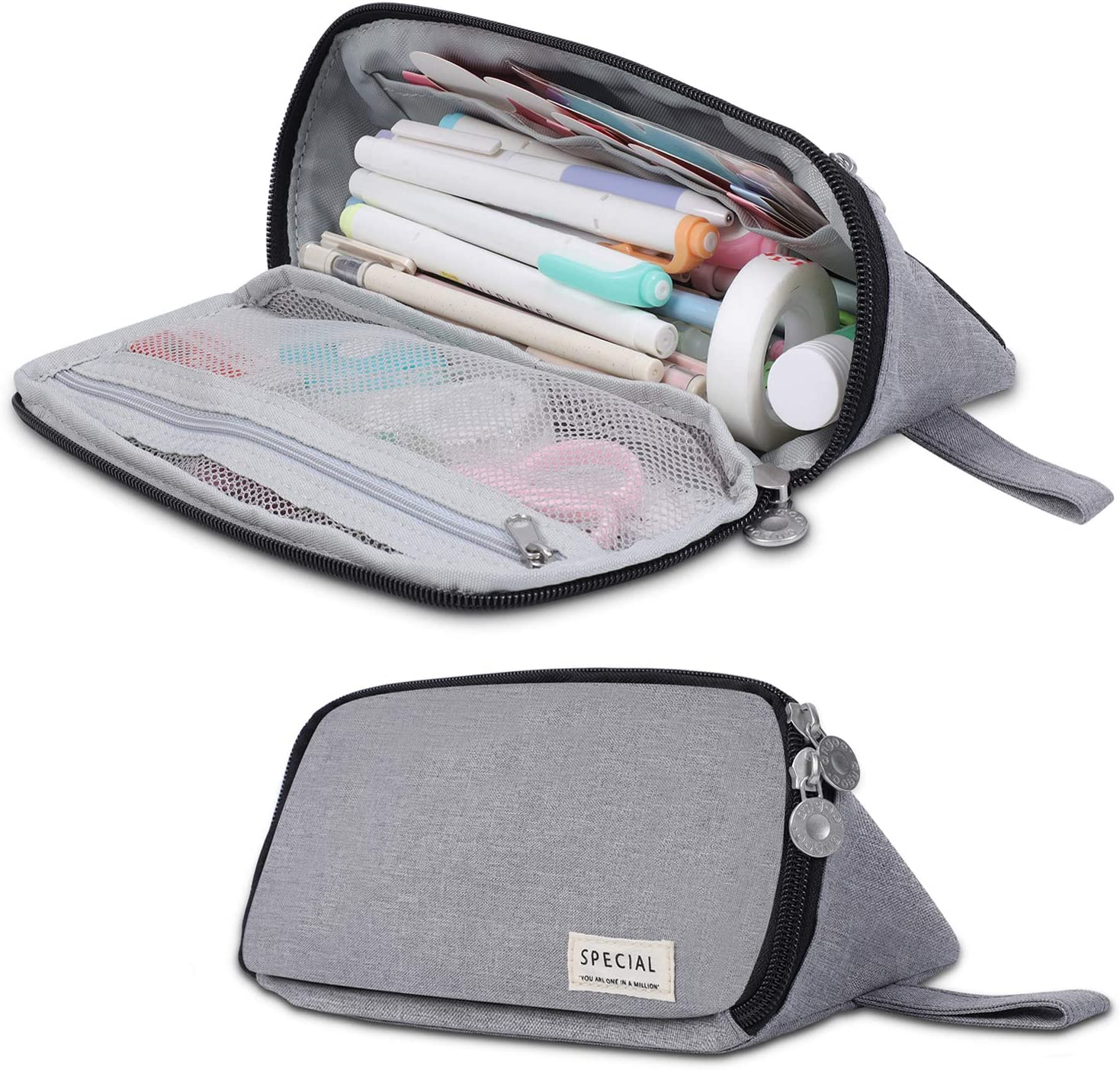 Big Capacity Pencil Case, Triangle Pencil Pouch, Handheld Pencil Bag with Zipper, Makeup Bag, Stationery Organizer Pen Holder, for Boys Teens Adults Students School Office Supplies (Light Gray)