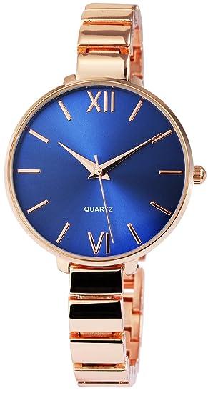 Reloj mujer azul rosado. Oro números romanos Analógico metal Reloj de pulsera