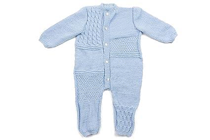 Pelele bebé Azzurra 100% pura lana. Hecho a mano
