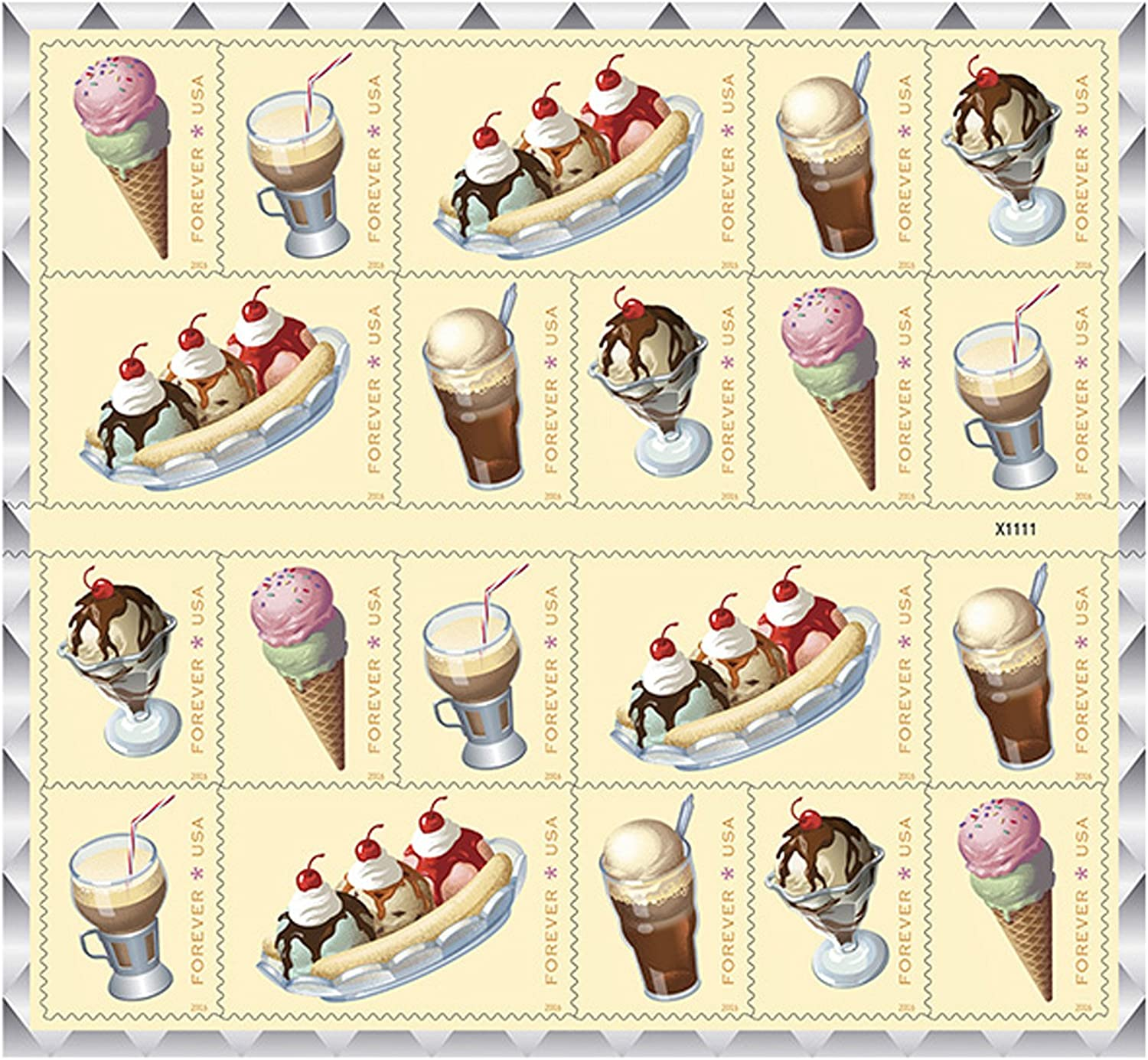 Soda Fountain Favorites USPS Forever First Class Postage Stamp Parties Celebrations Weddings Showers Icecream 1 sheet of 20 Stamps