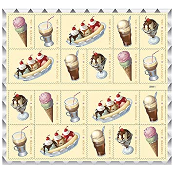 soda fountain favorites usps forever first class postage stamp parties celebrations weddings showers icecream 1 sheet