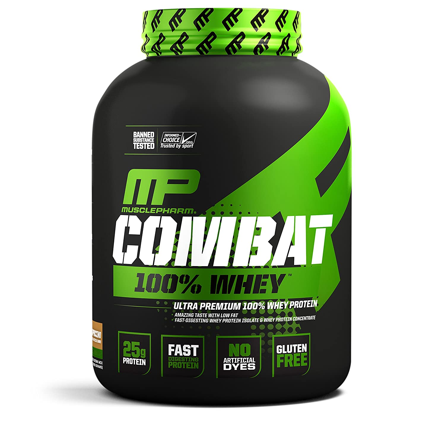 MusclePharm Combat 100 Whey, Muscle-Building Whey Protein Powder, 25 g of Ultra-Premium, Gluten-Free, Low-Fat Blend of Fast-Digesting Whey Protein, cappuccino, 5-Pound, 68 Servings