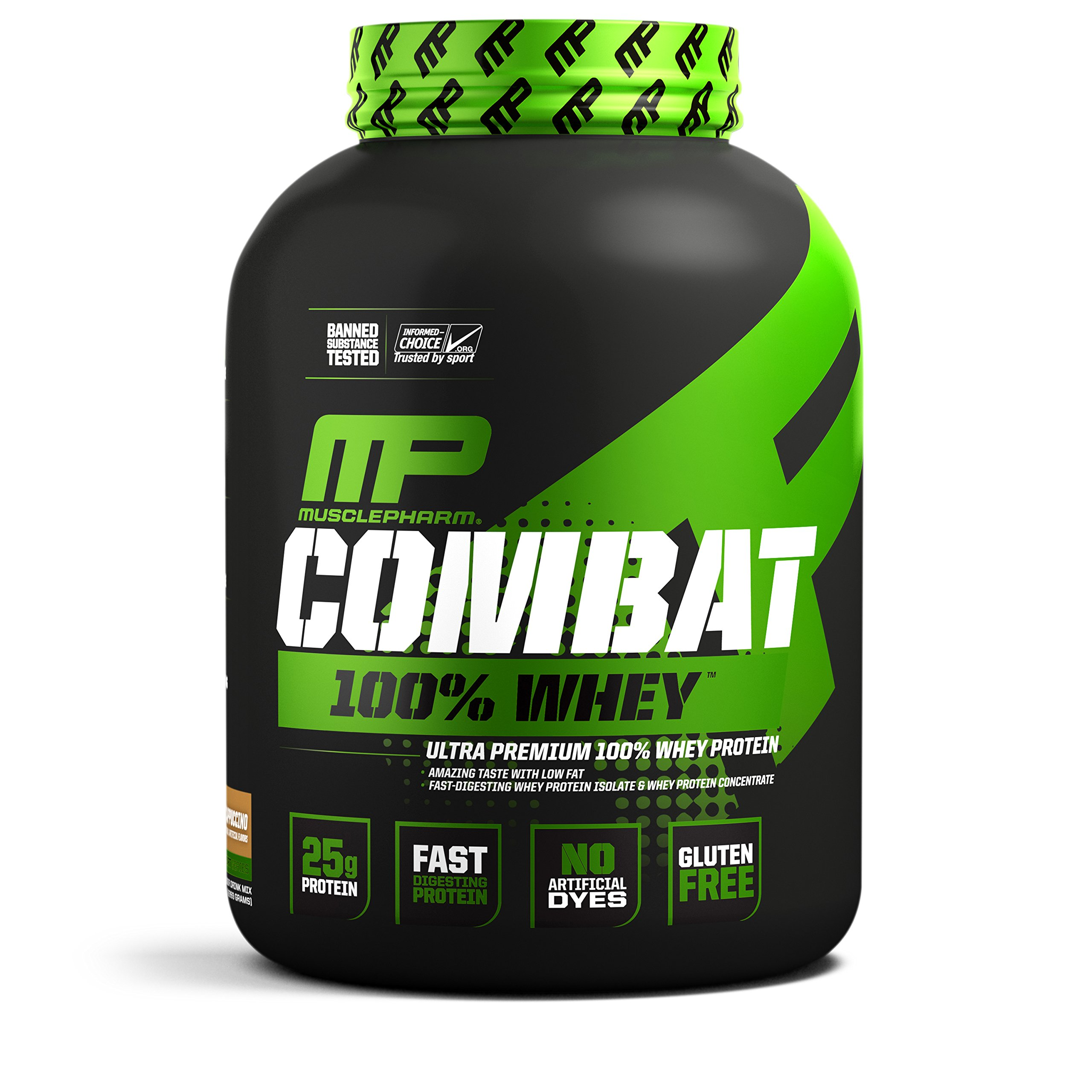 MusclePharm Combat 100% Whey, Muscle-Building Whey Protein Powder, 25 g of Ultra-Premium, Gluten-Free, Low-Fat Blend of Fast-Digesting Whey Protein, cappuccino, 5-Pound, 68 Servings