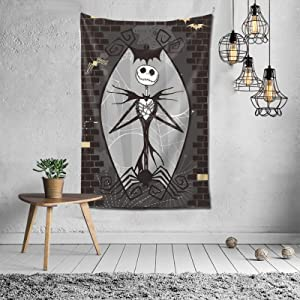 Tapestry Wall Hanging,Jack and Sally Skeleton Wall Blanket Art Tapestry Home Decor 60×40 inch