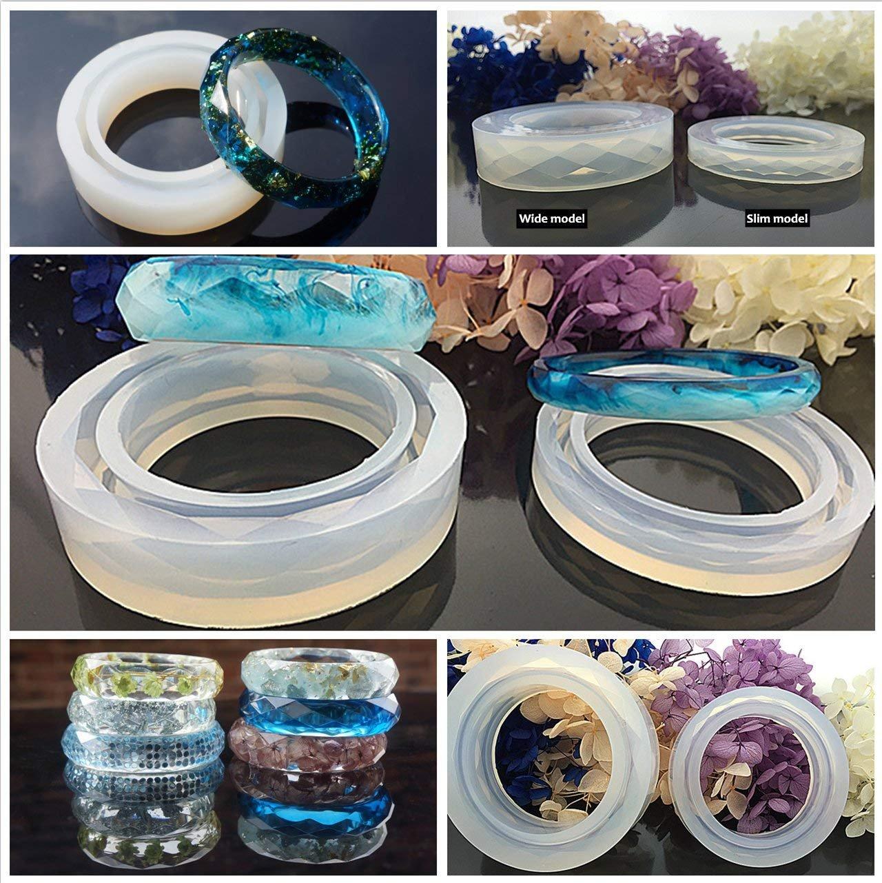 Kit Resina Epoxi UV Cristal Transparente para Joyas 250g + 11 Moldes Silicona (31 Formas) + 100 Anillos para Colgantes Collares, para Bisutería Joyería ...