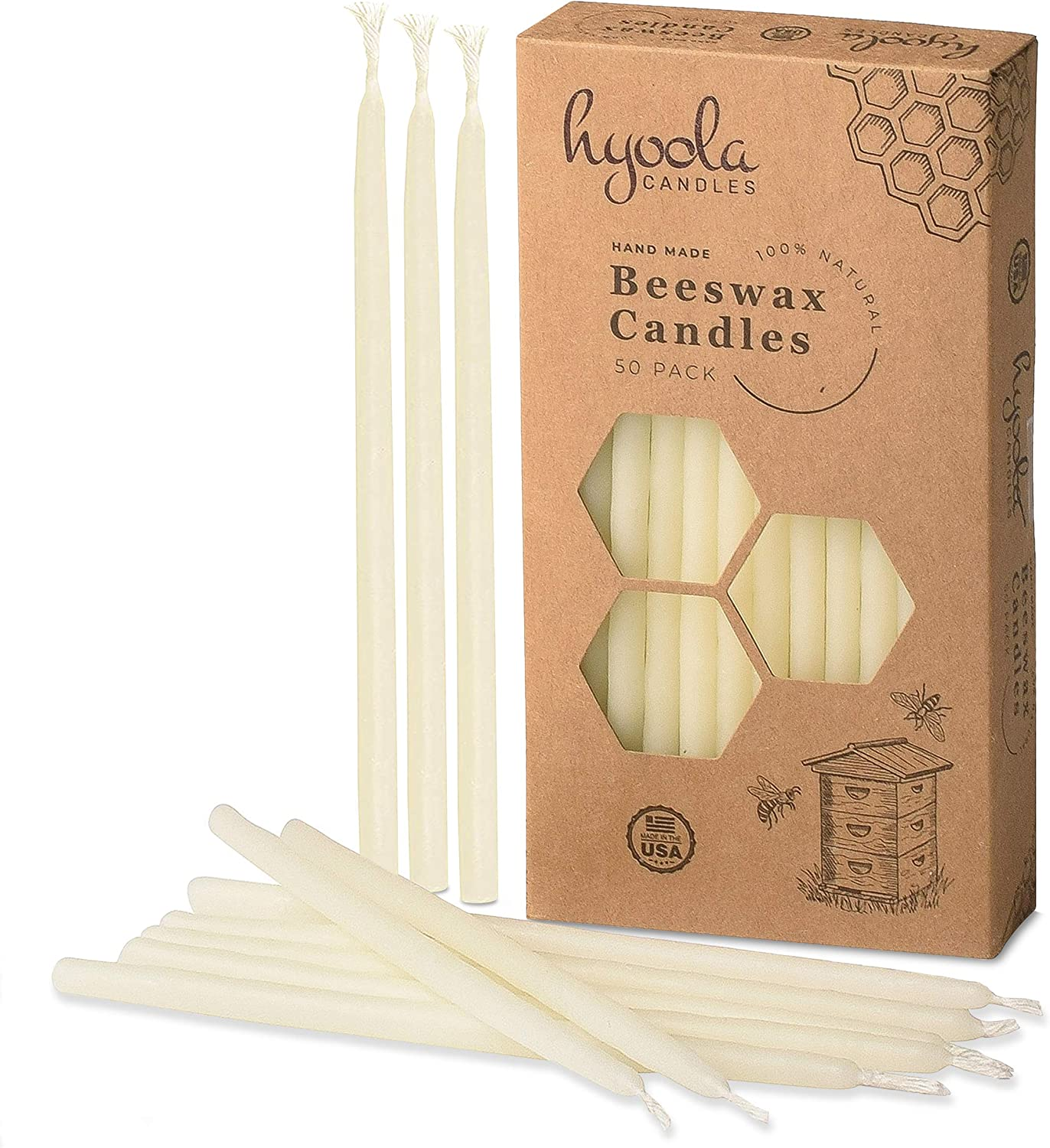 Hyoola Beeswax Birthday Candles - 50 Pack - Natural Dripless Decorative Candles with Long Lasting Burn - Elegant Taper Design, Soothing Scent - 6