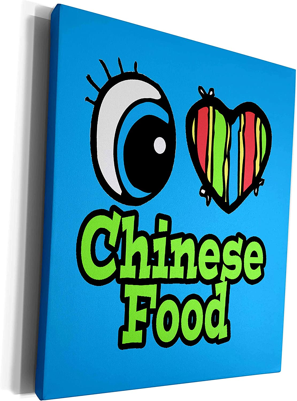 3dRose Dooni Designs Eye Heart I Love Designs - Bright Eye Heart I Love Chinese Food - Museum Grade Canvas Wrap (cw_105961_1)